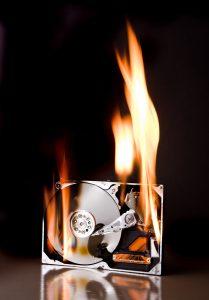 Hard drive on fire