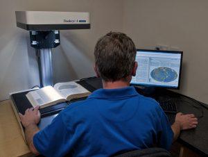Bookeye scanner in operation