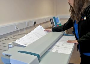 Large format scanning of medical charts