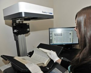 Book scanner in operation