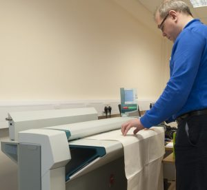 Large format scanner in operation